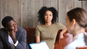 African couple meeting psychologist, black unhappy woman sharing marital problems