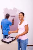 African couple painting Royalty Free Stock Photography