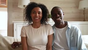 African couple webcam view making call talking with friend distantly