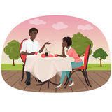 An African couple sitting in the cafe outside and drinking coffee vector illustration. Black people appointment date. An African couple sitting in the cafe Royalty Free Stock Photo