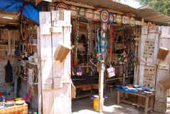 African craft items for sale at the market in Iringa in Tanzania Stock Image