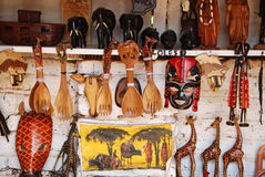 African craft items for sale at the market in Iringa in Tanzania Stock Photo
