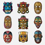 African craft voodoo tribal mask and inca south american culture totem. Symbols vector set. African mask souvenir, voodoo traditional face illustration Royalty Free Stock Photo