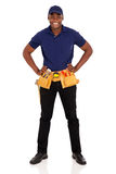 African craftman tool-belt. Portrait of professional african craftsman with tool-belt Royalty Free Stock Photos