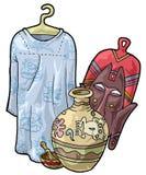 African craftsmanship. Artistic illustration. African craftsmanship: a dress, a mask, a bowl and a jar stock illustration
