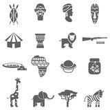 African culture black icons set Stock Photos