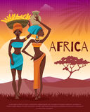 African Culture Tribal Traditions Flat Poster Royalty Free Stock Image