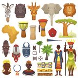 African culture vector characters in traditional clothing in Africa with ethnic tribal mask or drums in safari travel. Wildlife with animals in savanna set Stock Illustration