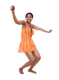 African dancer. Beautiful young African woman with braids dancing Royalty Free Stock Photos