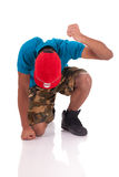 African dancer breakdance. Jumping  over white background Stock Image