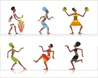 African dancers. Vector figures of African women dancing and playing national musical instruments Royalty Free Stock Photo