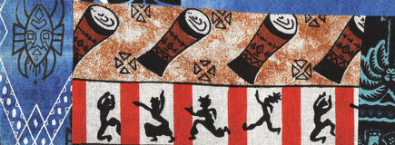 African dancers on batik. Royalty Free Stock Image