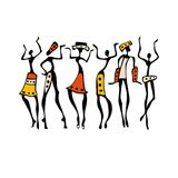 African Beautiful Women. African dancers. Dancing woman in ethnic style. Vector Illustration Royalty Free Stock Image