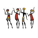 African Beautiful Women. African dancers. Dancing woman in ethnic style. Vector Illustration Stock Photo
