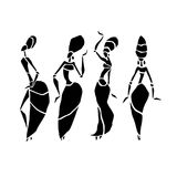 African Beautiful Women. African dancers. Dancing woman in ethnic style. Vector Illustration Stock Photos