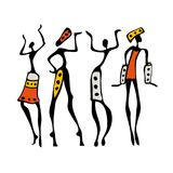 African Beautiful Women. African dancers. Dancing woman in ethnic style. Vector Illustration Royalty Free Stock Photography