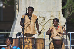 African dancers and musicians in Madrid Stock Photography