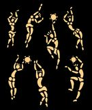 African dancers. Patterns. Figures of african dancers set. Vector Illustration Royalty Free Stock Photos