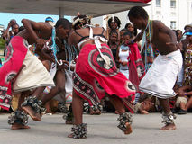 African Dancers perform for crowds at Ironman. African performers dance and entertain the crowds at Ironman 2008 held in Port Elizabeth South Africa Royalty Free Stock Photo