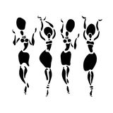 African dancers silhouette set. Stock Image