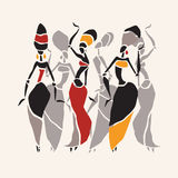 African dancers silhouette set Royalty Free Stock Photos