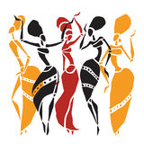 African dancers silhouette set. Figures of african dancers. Dancing woman in ethnic style. Vector  Illustration Stock Images
