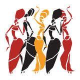 African dancers silhouette set Stock Photography
