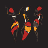 African dancers silhouette set. Figures of african dancers. Dancing woman in ethnic style. Vector  Illustration Royalty Free Stock Photo