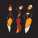 African dancers silhouette set. Figures of african dancers. Dancing woman in ethnic style. Vector  Illustration Stock Photo