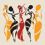 African dancers silhouette set. Figures of african dancers. Dancing woman in ethnic style. Vector  Illustration Royalty Free Stock Photos