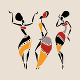 African dancers silhouette set. Figures of african dancers. Dancing woman in ethnic style. Vector  Illustration Royalty Free Stock Images