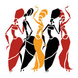 African dancers silhouette set. Figures of african dancers. Dancing woman in ethnic style. Vector  Illustration Royalty Free Stock Image
