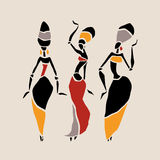 African dancers silhouette set. Figures of african dancers. Dancing woman in ethnic style. Vector  Illustration Stock Photography