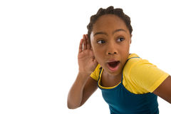 African descent adolescent with earbuds on Royalty Free Stock Photos