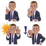 African businessman expressions. African descent businessman expressing accepting and rejecting vector illustration