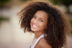 African descent child. Happy smiling african descent child with afro hair style Stock Image