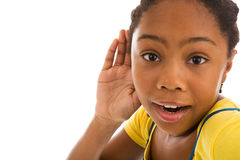 African descent female listening Royalty Free Stock Photography