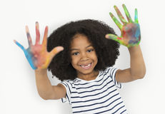 African Descent Little Girl Hand Painting Concept Royalty Free Stock Image