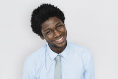 African Descent Man Tilt Head Concept. African Descent Man Tilt Head Smiling royalty free stock images