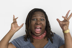 African Descent Woman Open Mouth Portrait. African Descent Woman Open Mouth Studio Portrait stock photo