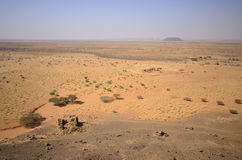 African desert. Ruins of Nubian temple in Sudan desert Royalty Free Stock Photography