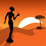 The African design. With the woman, fire and a tree Stock Images