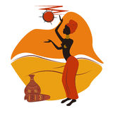 African design. Beautiful African American woman . Hand drawing illustration Royalty Free Stock Photo