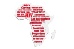 African diseases. Africa continent silhouette and diseases names Royalty Free Stock Photos