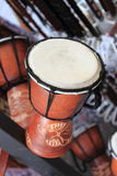 African Djembe drum. Closeup of a wooden african djembe drum Stock Photo