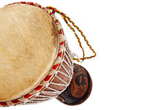 African djembe drum. Isolated on a white background Stock Photography