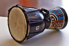 African Djembe Drum. Colorful Traditional African Djembe Drum Stock Photo