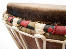 African Djembe Drum - Detail. Djembe detail showing rope work and skin Royalty Free Stock Photography