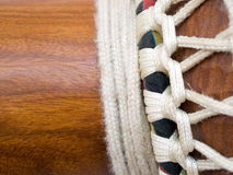 African Djembe Drum - Detail. Detail of traditional rope work and knotting Royalty Free Stock Images
