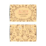 African djembe drum visit card. African drum visit card. Djembe master drummer business card. Isolated beige template with zulu ornament. Warm ethnic colors Royalty Free Stock Images
